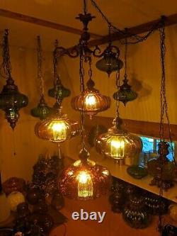 Vintage antique mid century hanging amber glass swag lamp light brass chandelier