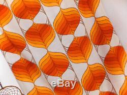 Vintage fabric curtains drapes orange white retro Mid Century POP Art 60's 70's