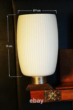 Vintage mid century 1960s Danish Teak & Opaline glass twin wall light scones