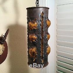 Vintage mid century brutalist hanging light fixture