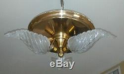 Vntg MID CENTURY Art Deco SLIP SHADE ceiling mount LIGHT fixture CHANDELIER