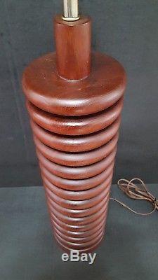 Vtg 1960's Turned Stacked Teak Lamp Light Denmark Mid Century Danish Modern