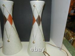 Vtg 50s 60s Diamonds Ceramic Lamp Atomic Era Mid Century Modern Retro Lighting