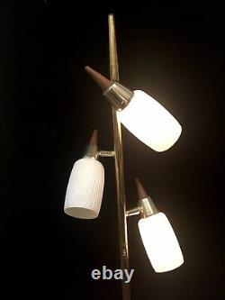 Vtg 60's Pole Floor Lamp Light Mid Century Danish Modern Gold Metal Wood MCM