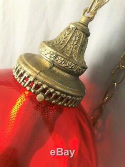 Vtg ATOMIC ORANGE Glass Hanging Ball Swag Light/Lamp Mid Century NOT AMBER & RED