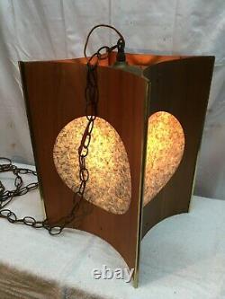 Vtg DANISH MODERN Blue Light MID-CENTURY Teak Wood 16 Swag LAMP Hanging