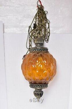 Vtg Hanging Lamp Amber ROUND Globe Swag Light Glass Mid Century Modern ceiling
