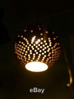 Vtg Lamp Hanging Brass Swag Light Mid Century Retro Chandelier