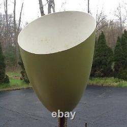 Vtg Mid Century 60s Green / Brass / Cast Retro Floor Lamp 2 Flower Light Pods
