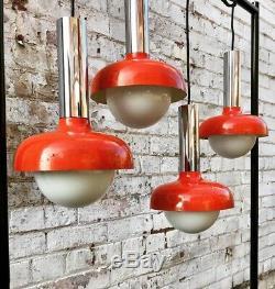 Vtg Mid Century Atomic Industrial Pendant Lights Orange Enamel Opaline Globe 50s