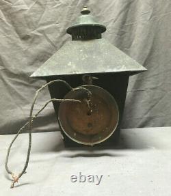 Vtg Mid Century Copper Frosted Glass Porch Sconce Light Fixture Lantern 86-19Lr