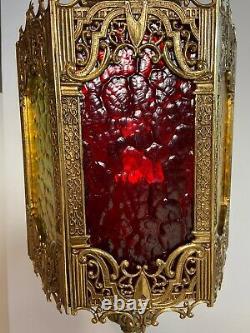 Vtg Mid Century Gothic Spanish Tudor Brass Hangin Swag Lamp Pendant Light Lucite