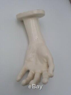 Vtg Mid Century Hand Shaped Wall Sconces/Lighting Signed White Glazed Ceramic