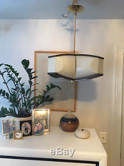 Vtg Mid Century Mod Brass Large Star Pendant Light Space Age Atomic Eames