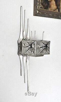 Vtg Mid Century Modern Brutalist Wall Sconce Sculpture Light Candelabra Drumm
