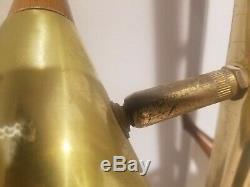 Vtg Mid Century Modern POLE LAMP Floor Light 3 Cone Atomic Metal Brass