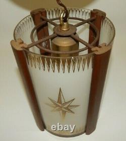 Vtg Mid Century Modern Teak Frosted Curved Glass Atomic Starburst Pendant Light