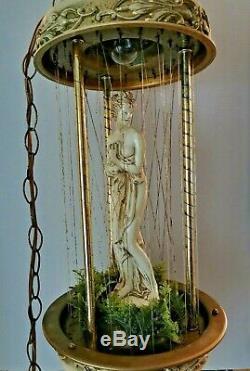 Vtg Mid Century Oil Rain Swag Hanging Lamp Light Nude Lady Goddess Pillar Large