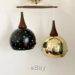 Vtg Mid Century Pendant Gold Black Teak Double Ceiling Light Fixture Sphere Orb