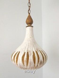 Vtg Mid Century Pottery Ceramic Swag Light Arabesque Pendant Lamp Pebble Cutouts