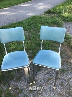 Vtg Mid Century Retro Dinette Chrome Vinyl Kitchen Chairs Light blue 6 available