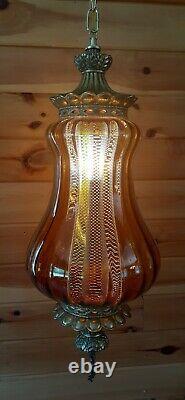 Vtg Mid Century Retro Hanging Swag Light/Lamp Amber Rootbeer Glass Design
