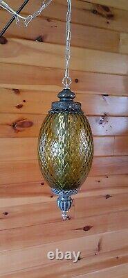 Vtg Mid Century Retro Hanging Swag Light/Lamp Green Diamond Glass Design