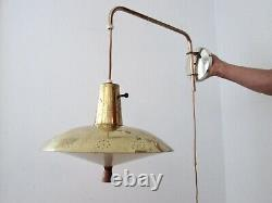 Vtg Mid Century Space Age Flying Saucer Swing Arm Counterweight Wall Light MCM