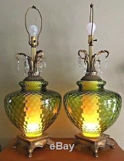 Vtg Midcentury Green Glass Table Lamps withPrisms. Light-up Bases. 3-way Switch