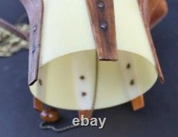 Vtg Orig 1950s Mid Century Modern Danish Lamp MCM Teak Atomic Ceiling Swag Light