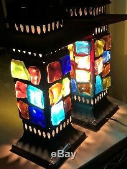 Vtg Pair Marsh Nader Mid Century Modern Brutalist Metal Chunk Glass Lights Lamps