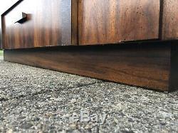 Walnut Mid Century Modern Credenza Vintage Lane Lighted Shelf Hutch Brutalist