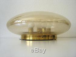 XL Mid Century Modern GLASHÜTTE LIMBURG Amber Colored WALL / CEILING LAMP Light